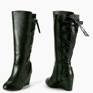 Shoes - Womens Black Torrid Lace Up Back Wedge Boots Wide